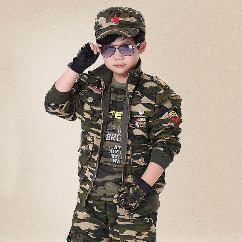 S~3XL Boys Camouflage Scouting Uniforms Spring Military Costume Children Outdoor Training Uniform Security Training Clothes