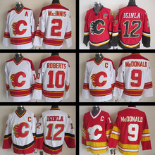 Throwback jersey Stitched Al MacInnis Lanny McDonald #10 Gary Roberts #12 Jarome Iginla CCM Vintage Red White Ice hockey jerseys