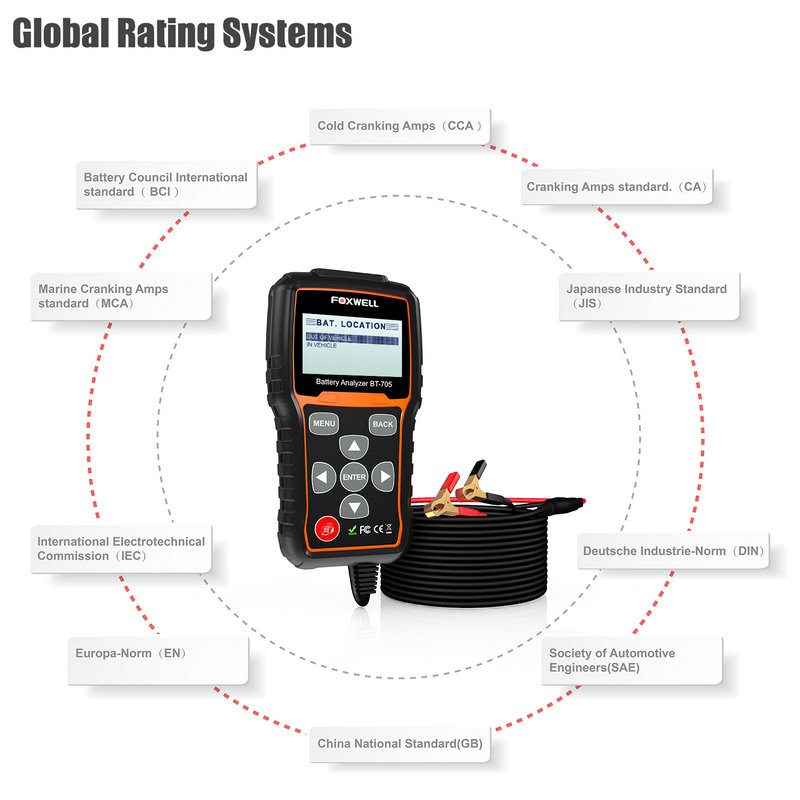 Foxwell BT705 Car Battery Analyzer 12V & 24V Truck Battery Tester Starting Charging Test with Portuguese Multi Languages 0004