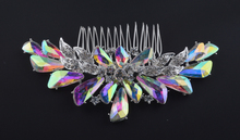Top Quality Aurora color Bridal Hair Comb Rhinestone AB crystal For Brides Hair wear Jewelry Wedding Accessories silver plated(China)