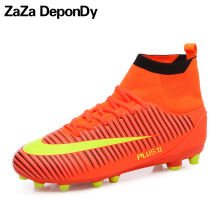 Plus Size Mens Soccer Cleats High Top Sneakers Football Shoes Long Spikes Outdoor Soccer Football Boots Men Chuteira Futebol