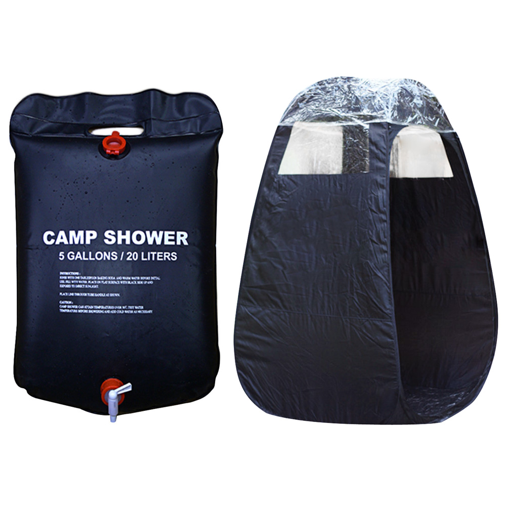Outdoor Shower One-Package Service Camp Shower Combo Including 20L Foldable Solar Energy Shower Bag And Privacy Shelter, Enjoy S(China)