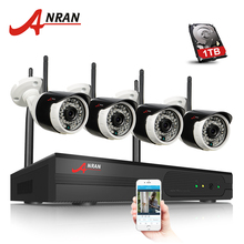 ANRAN Plug and Play 4CH Surveillance System Wireless NVR Kit P2P 720P HD 36 IR Night Vision Email Alarm WIFI IP Security Camera