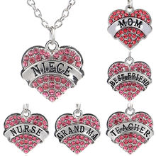 LNRRABC Women Crystal Rhinestones Necklaces Pink Heart Pendant Necklace Long Sweater Chain Fashion Jewelry Accessory Friend Gift