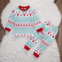 New Christmas infant toddler children kids xma Baby Girls Boy Snowflake Deer Romper sleepwear Pajamas Set Nightwear Outfits(China)