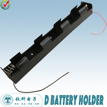 4 D Battery Holder Spring Loaded Black Plastic Storage Box With Lead Wire 253X27X35mm TBH-D-4L