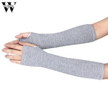 Amazing Women Ladies Elbow Length Winter Fingerless Gloves Mitten Christmas Gifts Black Gray Coffee(China)
