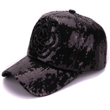 Fancy dress decoration 3D bead rose shining baseball cap sequins lady hats snapback black caps and hats for women(China)