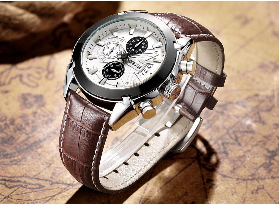 Baogela Mens Chronograph Luminous Hands Date Indicator Fashion Causal Leather Strap Sport Quartz Wrist Watches 10