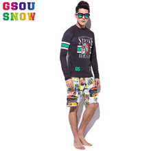 Gsou Snow Summer Beach Rash Guard Men Two-piece Diving Suit Wetsuit Long Sleeve Quick Dry Sunblock Diving Maillot De Bain Homme(China)