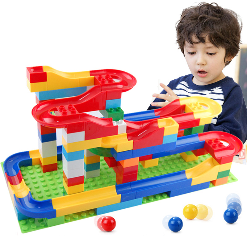 Free shipping DIY Construction Marble Race Run Maze Balls Track Plastic House Building Blocks Toys for kids Christmas No Box<br><br>Aliexpress