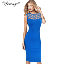 Vfemage Womens Elegant Sexy See Through Mesh Patchwork Slim Casual Wear to Work Office Business Party Fitted Bodycon Dress 6209(China)