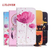 For P8 Lite Luxury boy and girl  Cartoon Painting PU Flip Leather Case For Huawei P8 Lite p8lite cover Brand Mobile Phone Cases