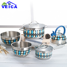 7pcs Blue Color Stainless Steel Cookware Set Casserole+Milk Pot+kettle Kitchen Cooking Tools Free Shipping Sale-Seller