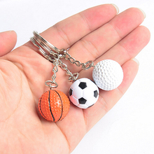 Car Key Chain Key Ring 1Pcs Hot Football Basketball Golf Ball Pendant Keyring Sports Metal Keychain Wholesale 3 Styles On Sale(China)