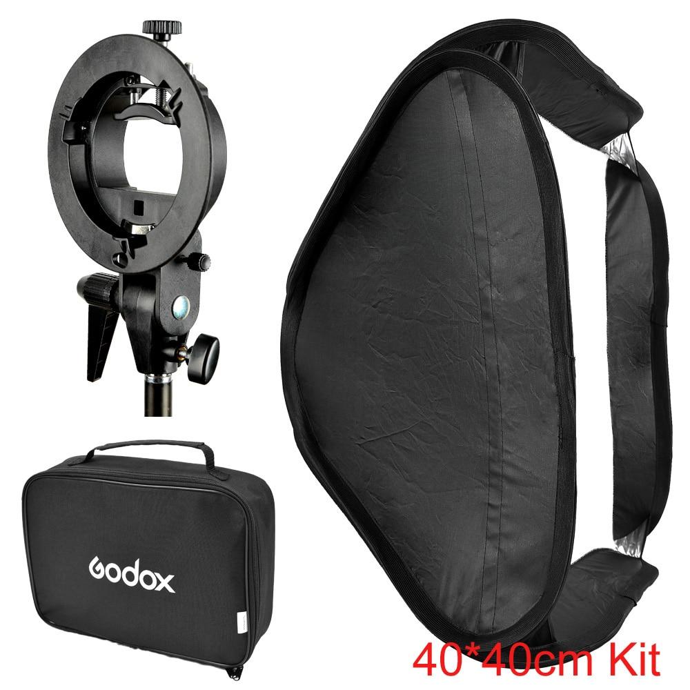 Godox 40*40cm / 15 * 15 Softbox Diffuser with S-type Bracket Bowens Holder for Speedlite Flash Light 40cm*40cm<br>