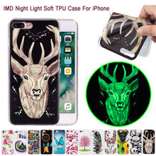 Fashion Carton Luminous Night Light Soft TPU Cell Phone Case For iPhone Touch 7 6 6S Plus 5 5G 5C 5S SE IMD Natural Back Cover
