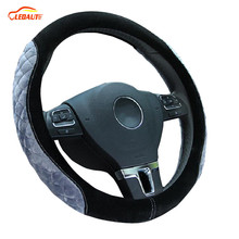 "LEDAUT Winter Steering Wheel Cover Warm Plush Gray Velvet Black 38cm/15"" Auto Interior Accessories Universal"