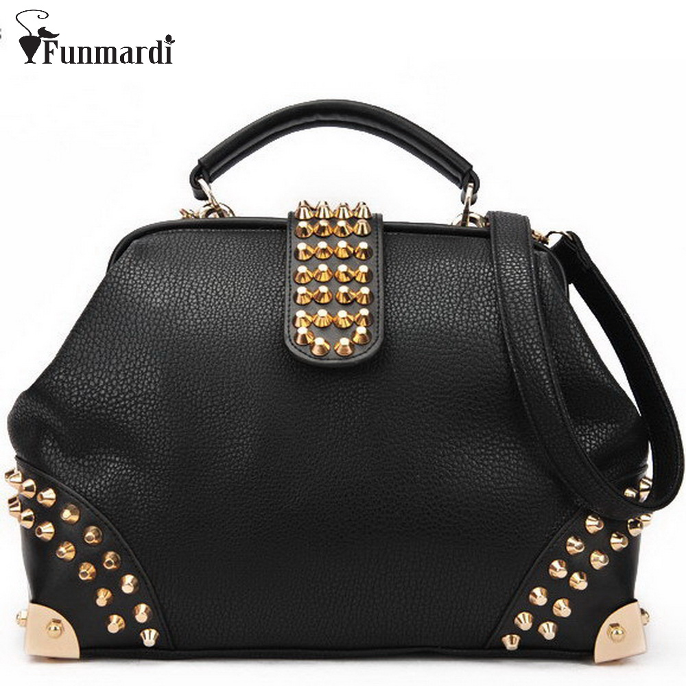 Special offer fashion rivet PU leather bags brand design women handbag luxury female shoulder bag classical doctor bags WLHB531<br>