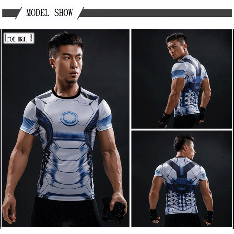 Short Sleeve 3D T Shirt Men T-Shirt Male Crossfit Tee Captain America Superman tshirt Men Fitness Compression Shirt Punisher MMA 52