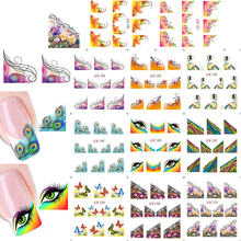 1sets 11 designs New Charm Women Beauty Sexy Nail Art French Tips Stickers Decals Water Transfer Wraps Decorations B100-110(China)