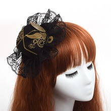 Women Vintage Steampunk Mini Top Hat Headband Lace Hair Clip Wing Gear Gothic Hairpin Headwear