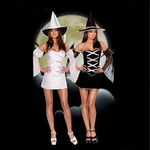 Sexy Black White Women Witch Halloween Cosplay Costume With Hat Cute Adult Fancy Dresses Night Clubwear Lace Up Uniform 8285(China)
