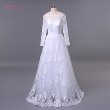 Buy Lace Vestido De Noiva 2018 Muslim Wedding Dresses A-line Boat Neck Long Sleeves Appliques Cheap Boho Wedding Gown Bridal Dresses for $111.93 in AliExpress store
