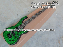 Custom Shop Emerald Green Quilted Body Modulus Bass Quantum 5 String Electric Bass Guitar China Left Handed Available(China)