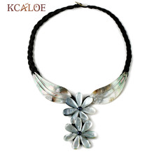 KCALOE Collar Natural Shell Flowers Pendant Necklace For Women Black Weave Rope Bohemian Beach Chokers Necklaces Boho Jewelry(China)