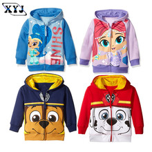 2016 Autumn Baby Jackets Girls Hoodies Cute Printing Outwear Shimmer Children's Clothing For Girls Sport Outwear(China)