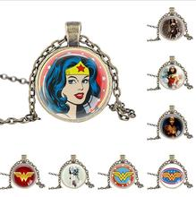 CODOMO Wonder Woman Necklace Silver Stainless Steel Gold Neck Lace Toy For Girls Children Kids Gift Super Hero Charm Pendant