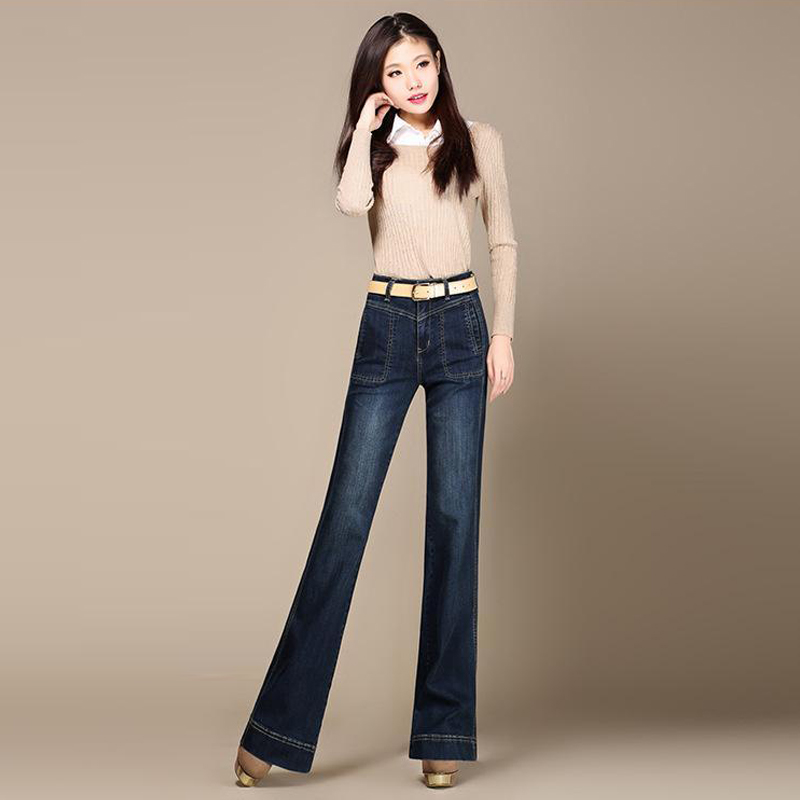 Fashion Womens Jeans Embroidery Wide Leg Jeans Ladies Full Length Big Straight Trousers Boot Cut Flares Pants Large Size 26-40Îäåæäà è àêñåññóàðû<br><br>