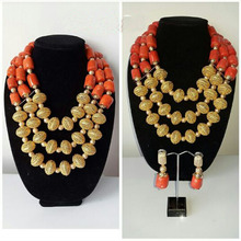 Original Traditional Coral with Gold Accessories Latest Design Party Bridal Wedding African Nigerian Beads Jewellery Set CNR842