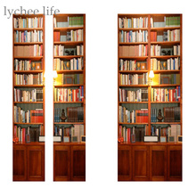 Lychee 2pcs/set Wall Sticker PVC Retro Book Cabinet Poster DIY Mural Bedroom Home Decoration 3D Door Sticker Decal
