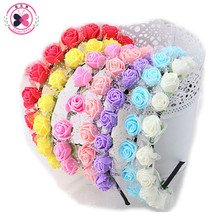 Haimeikang Sweet Candy Color Children Foam Flower Headbands Wreath Bezel Flowers Crown Headpiece Kids Girls Hair Accessories