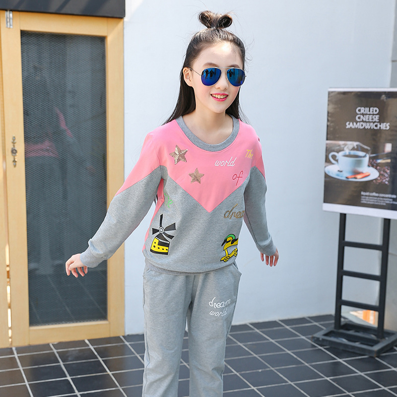 Teen Girls Set Age 10-16Y Children School Clothing Set Spring Autumn Full Sleeved T Shirt + Long Pants 2 Pcs Sets <br>