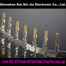 Free shipping 200PCS 4.2mm 5557 Female ATX/PCI-E/PSU Half Gold-Plated Crimp Terminal Pins + Long Legs