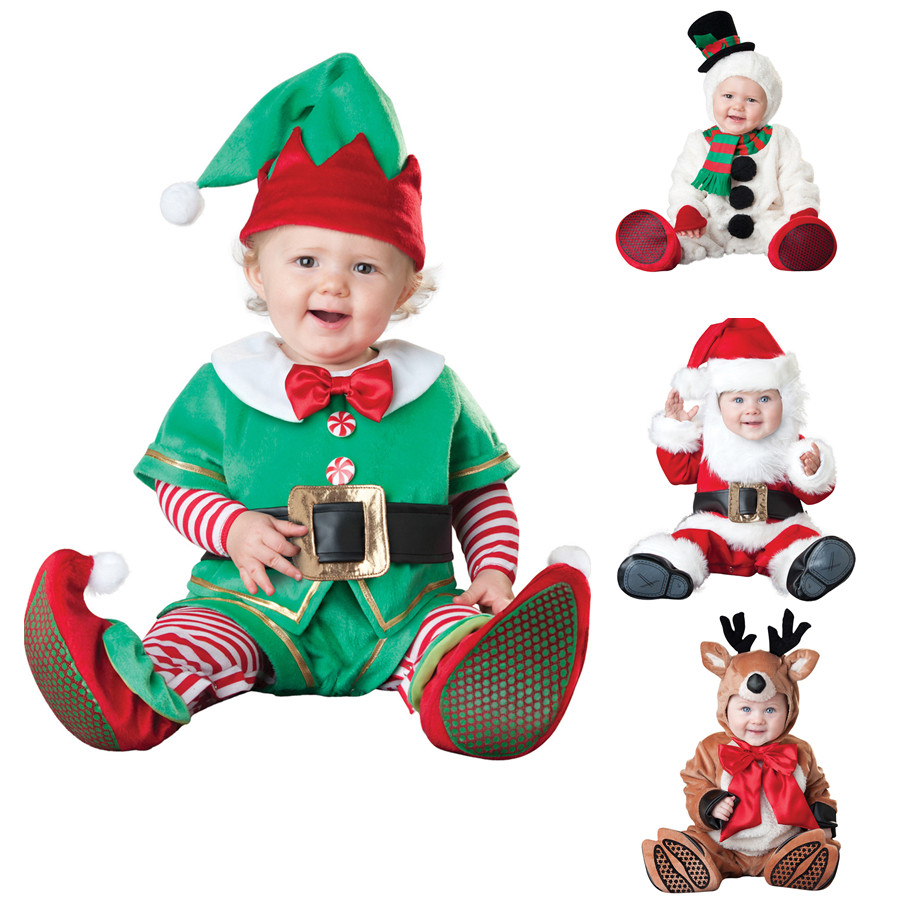 Newborn Baby Santa Claus Cosplay Costume Spring Autumn Infant Jumpsuit Cotton Girls Boys Halloween Cosplay Costume Snowman Suit<br>