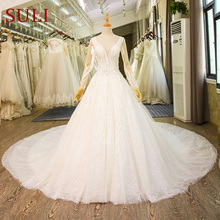 SL-79 Luxury Cathedral French Lace Bridal Gown Muslim Boho Wedding Dress Long Sleeve(China)