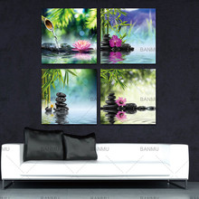 BANMU 4pcs/set canvas painting Walls Art decoration for living roomBamboo Black Spa Zen Stone Picture Modern Giclee Wall Artwork