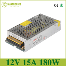 Best quality 12V 15A 180W Switching Power Supply Driver for LED Strip AC 110-240V Input to DC 12V Fast shipping by DHL(China)