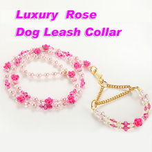 Luxury Chihuahua Leash Pet Dog Leash And Collar Set Rose Dog Lead Rope Puppy Cat Dog Accessories Products 2017 New Arrival(China)