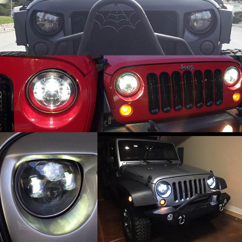 FADUIES Black 7 inch LED Headlight 40W H4 High low Beam For Jeep Wrangler JK 2 Door 4 Door LandRover Defender Headlamp (12)