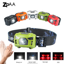 ZPAA Head Torchlight Sensor LED Headlamp With Red Light USB Rechargeable outdoor Head Lamp Flashlight Waterproof for Running