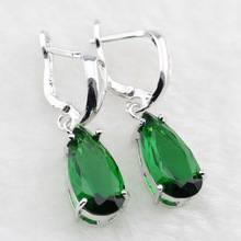 Lan Trendy Silver-Planted Jewelry For Water Drop Shaped Drop Earrings Green Earrings Free Shipping(China)