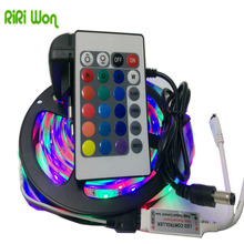 RiRi won 5m smd RGB LED Strip light 3528 flexible smd led tape diode ribbon waterproof 5m/roll 24k controller dc 12V adapter set