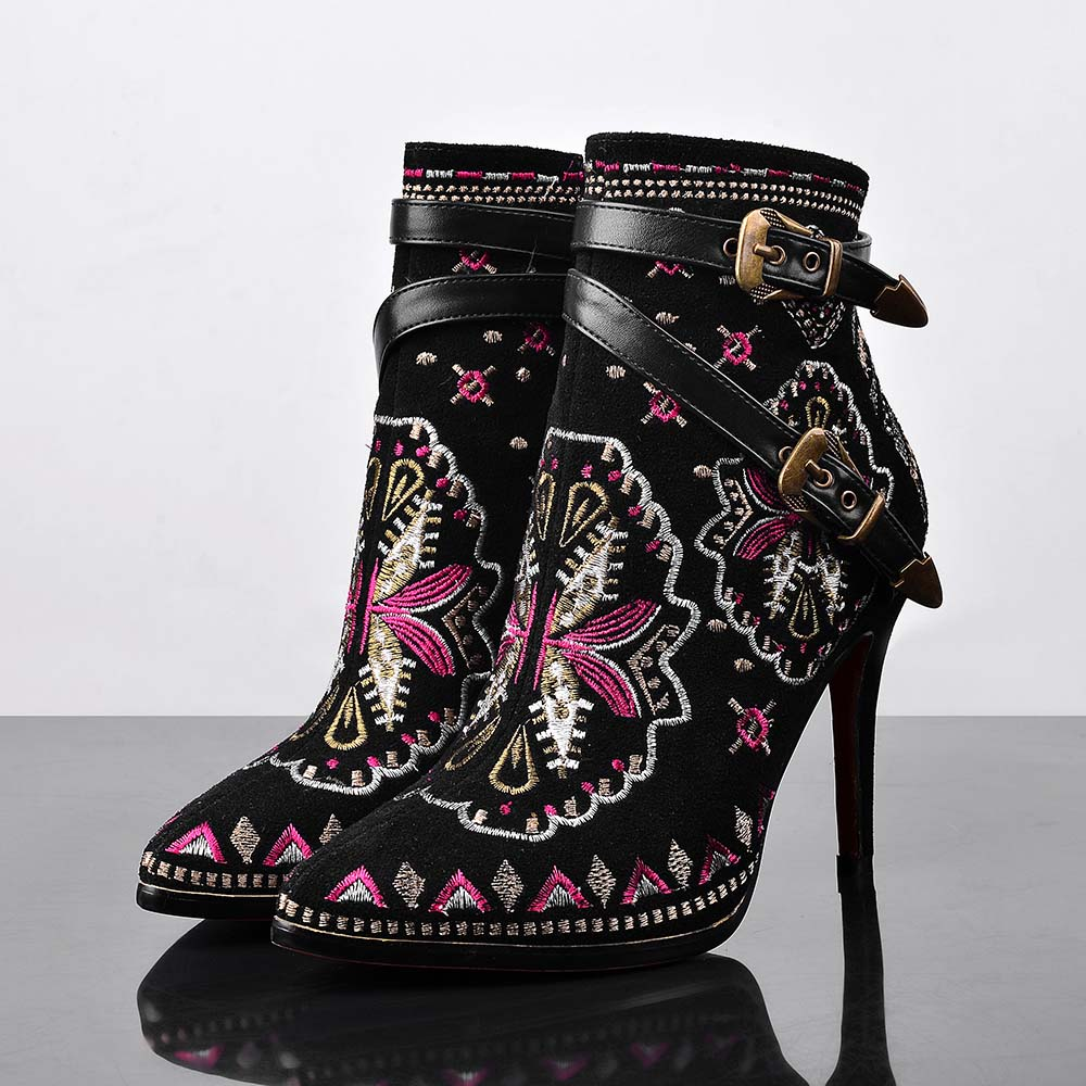 Pointy Toe Side Zippers Belt Buckle Thin Heels Black Cowhide Suede Embroidery Women Elegant Naked Boots High Quality Pumps<br><br>Aliexpress