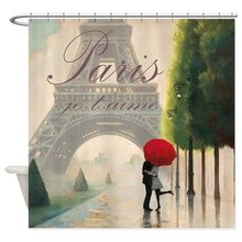 Warm Tour Je T'aime Paris Fabric Polyester Waterproof Bathroom Curtains(China)