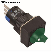 Zusen 16mm 12v green led light Square plastic selector switch 2 position LOCK 1NO1NC(LA16-11X/21/G/12V/F)